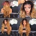 Высокая Плотность 180% Ломбер Блондинка Человеческих Волос Парики Объемная Волна Бразильского Виргинские Человеческих Волос Кружева Фронт Парики T1b/27 # окрашенных Волос