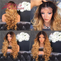 High Density 180% Ombre Blonde Human Hair Wigs Body Wave Brazilian Virgin Human Hair Lace Front Wigs T1b/27# Colored Hair