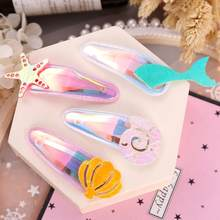 1Pair Cute Laser Sea Star Shell Fish tail Hair Clips Sweet Baby Girls BB Hairpins Barrettes Hairgrip Kids Hair Accessories(China)