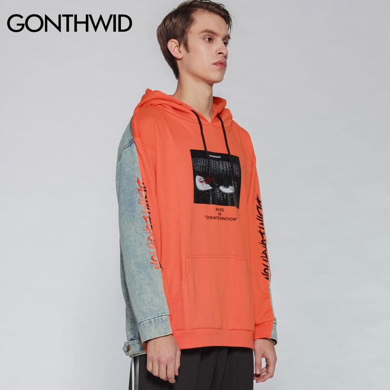 Automne Hoodies 2019 Streetwear Orange Hip Pull Patchwork Broderie Butin Imprimé Hop Hommes Denim Sweat Capuche Printemps Gonthwid À zwRqC4q
