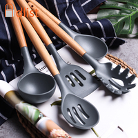 Multifunction Cookware silicone spatula wood handle soup spoon Kitchen Utensil Cooking Tools sets Kitchenware Accessories