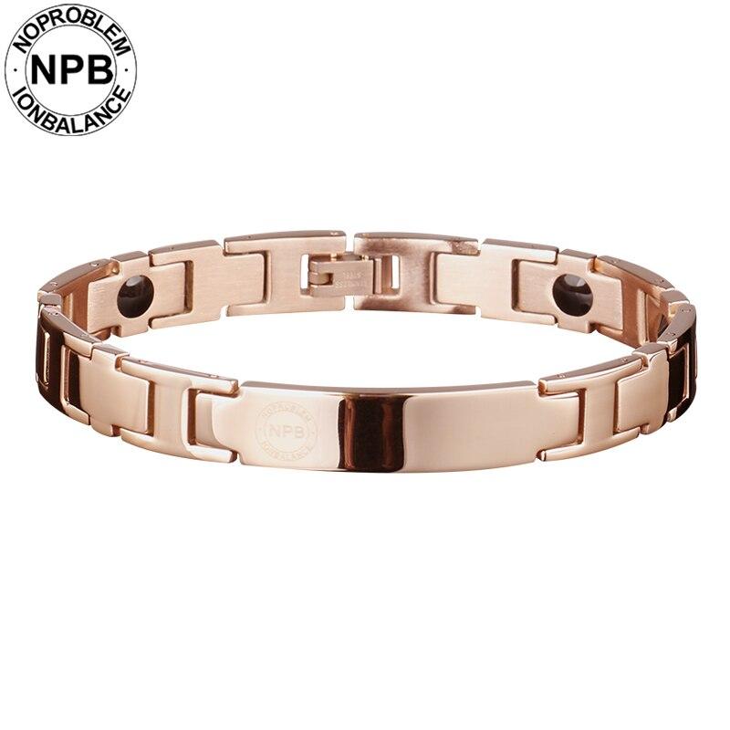 Noproblem 044 or rose ion thérapie équilibre santé choker mignon sport décontracté métal tourmaline germanium bracelet