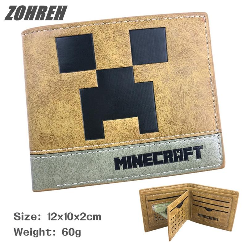 ZOHREH 2018 Minecraft Wallet Genuine Leather Men Wallets Purse Short Male Clutch Leather Wallet Mens Money Bag Quality Guarantee цена