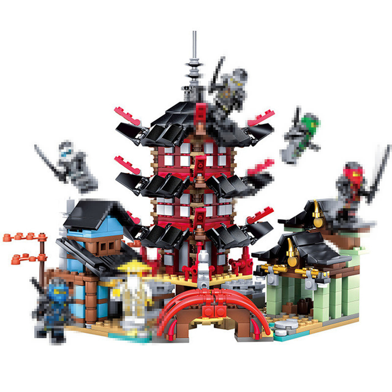 105 Ninja Temple of Airjitzu Building block Bricks Smaller Version 737pcs diy Set Compatible legoes gift kid ninja Toys boys dhl in stock lepin 06022 2150pcs ninja temple of airjitzu jay kai cole building blocks bricks set diy toys fit for 70751