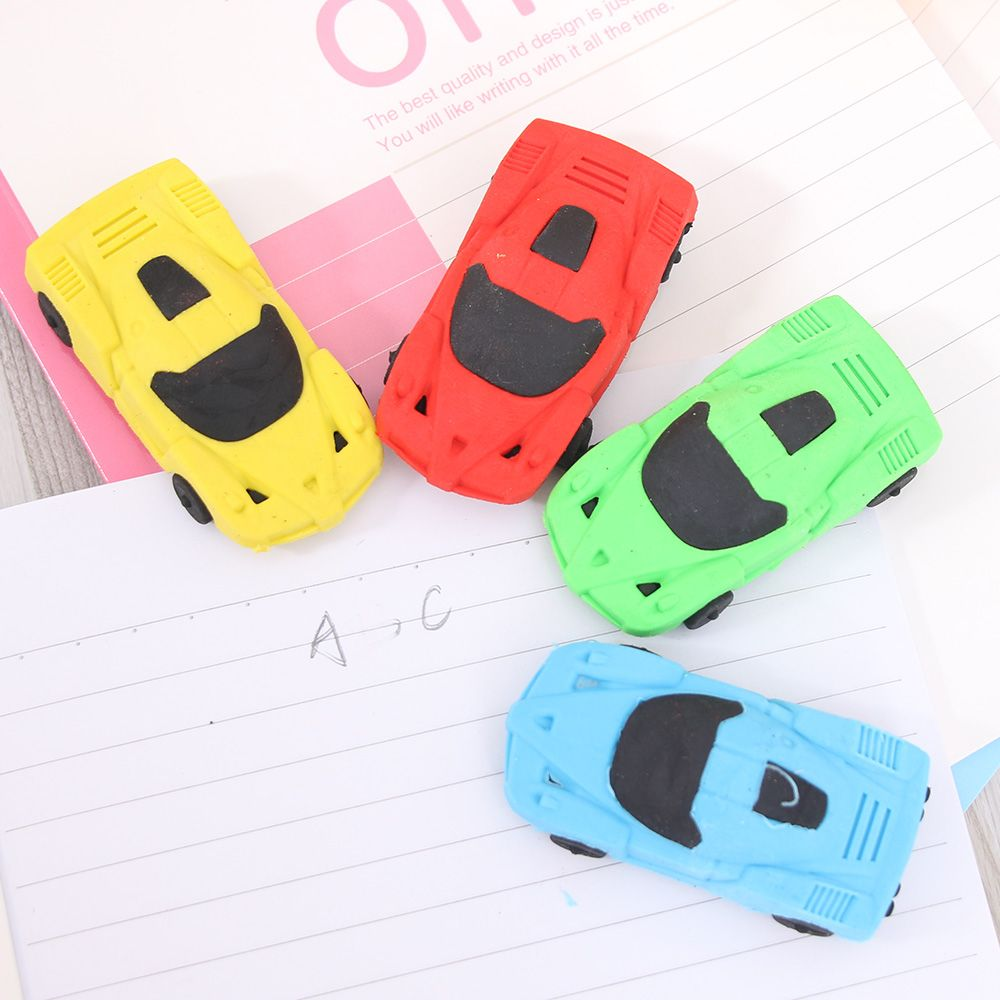 1pc Super Cute Send Random Kawaii Children Sports Car Pencil Erasers Rubber Eraser For Kids School Office Supplies Kids Gift