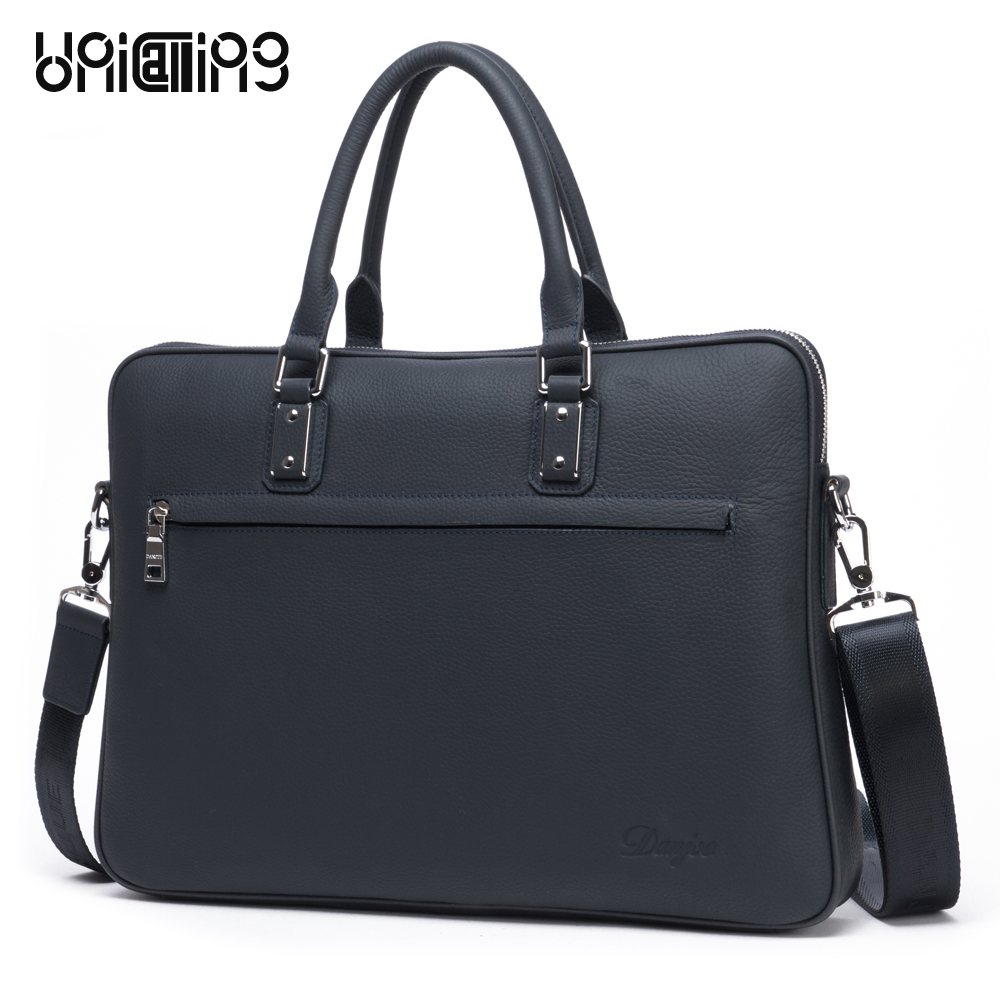UniCalling brand quality new genuine cowhide leather man bag stylish messenger leather handbag briefcase leather business bag