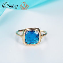 QIMING Big Blue Sapphire Ring Engagement Gold Women Boho Jewelry Square Pendant Woman Rings Statement Gift(Hong Kong,China)