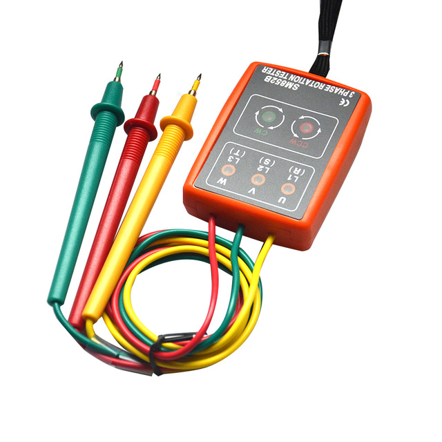 3 Phase Sequence Rotation Tester Indicator Detector Meter LED Buzzer with Portable Pouch SM852B