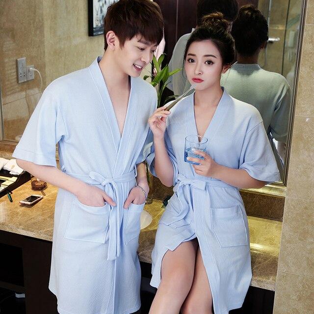 New Lovers 100% Cotton Waffle Bath Robe Women Suck Water Kimono ...