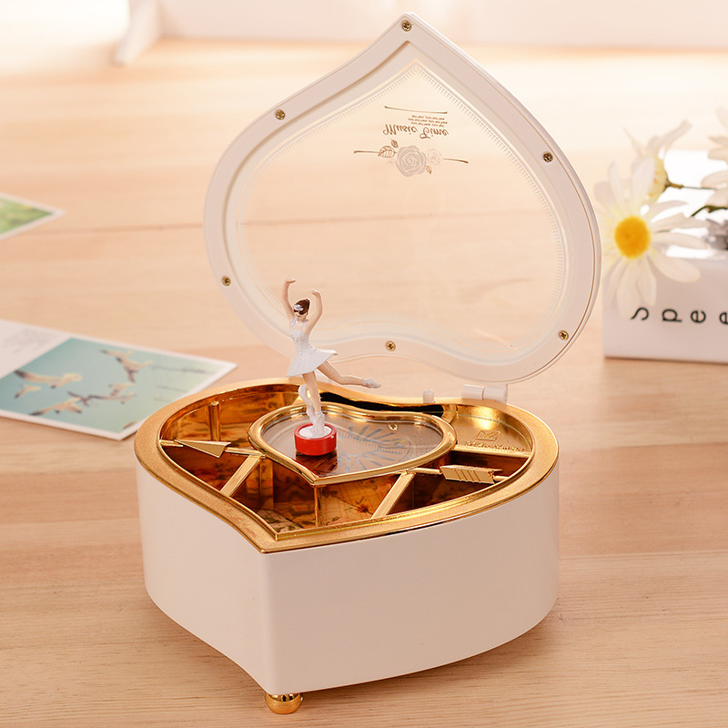 Creative Heart Shape Dancing Ballerina Girls Music Box Smyckeskrin Plast Mekanisk Music Box Ornament Heminredning Hantverk Present