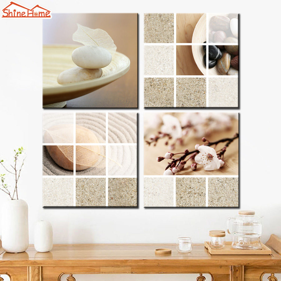 Shinehome 4pcs Wall Art Canvas Painting Printing Spa Yoga: ShineHome 4Pcs Modular Wall Painting Canvas Picture Yoga