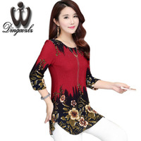 Dingaozlz Plus Size Women Clothing 4XL Long Style Vintage Printed Knitted Shirt Diamond Casual Tops Fashoin