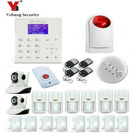 YobangSecurity Wireless Wifi GSM SMS ANDROID IOS APP Home Burglar Security Alarm System Wireless Siren IP Camera Smoke Fire wireless alarm accessories glass vibration door pir siren smoke gas water sensor for home security wifi gsm sms alarm system