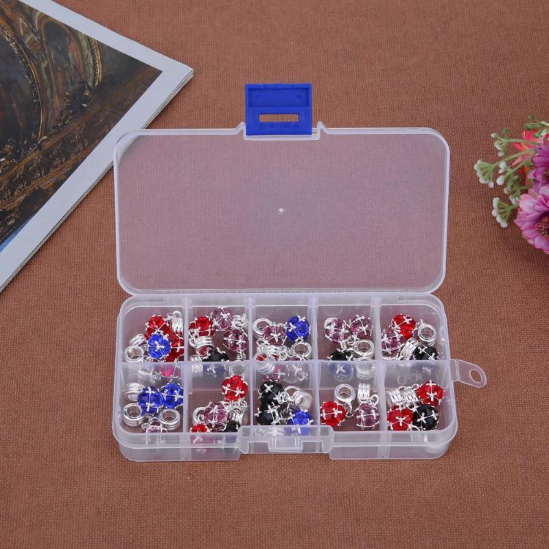 5/8/10/15 rejillas Caja de almacenamiento de joyería transparente - Organización y almacenamiento en la casa