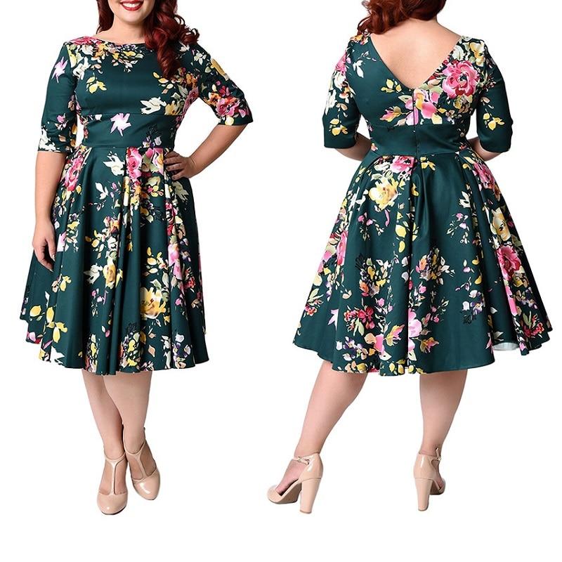 Large Size 7XL 8XL 9XL Women Dress Casual Half Sleeve Floral Printed Swing Skater Dress Plus Size Dresses For Women 4XL 5XL 6XL