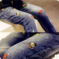 2016 winter new children jeans Plus thick velvet Brand Pants Casual baby girls boys Cute High Quality pants baby clothes prints