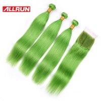 צבע ירוק דשא Allrun פרואני 3 חבילות לארוג עם 4*4 סגירת תחרה רמי 100% הארכת שיער אדם 4 יח'\חבילה משלוח חינם