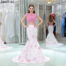 Купить с кэшбэком JaneVini Elegant Pink Satin Floral Print 2 Pieces Bridesmaid Dresses O Neck Lace Appliques Beaded Mermaid Prom Gowns Sweep Train