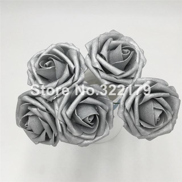 Aliexpress buy artificial flowers silver roses fake foam artificial flowers silver roses fake foam flowers for bridal wedding bouquet wedding decor centerpiece wholesale lots mightylinksfo
