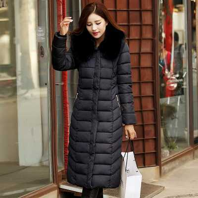 New Arrival Fashion Winter Slim Large Fur Hooded Collar Cotton Jackets Over-Long Warm Parka Thicken Snow Women Coat H6464 new arrival fashion winter fur hooded collar long sleeves camouflage plus size mix colors thicken down jackets women coat h5778