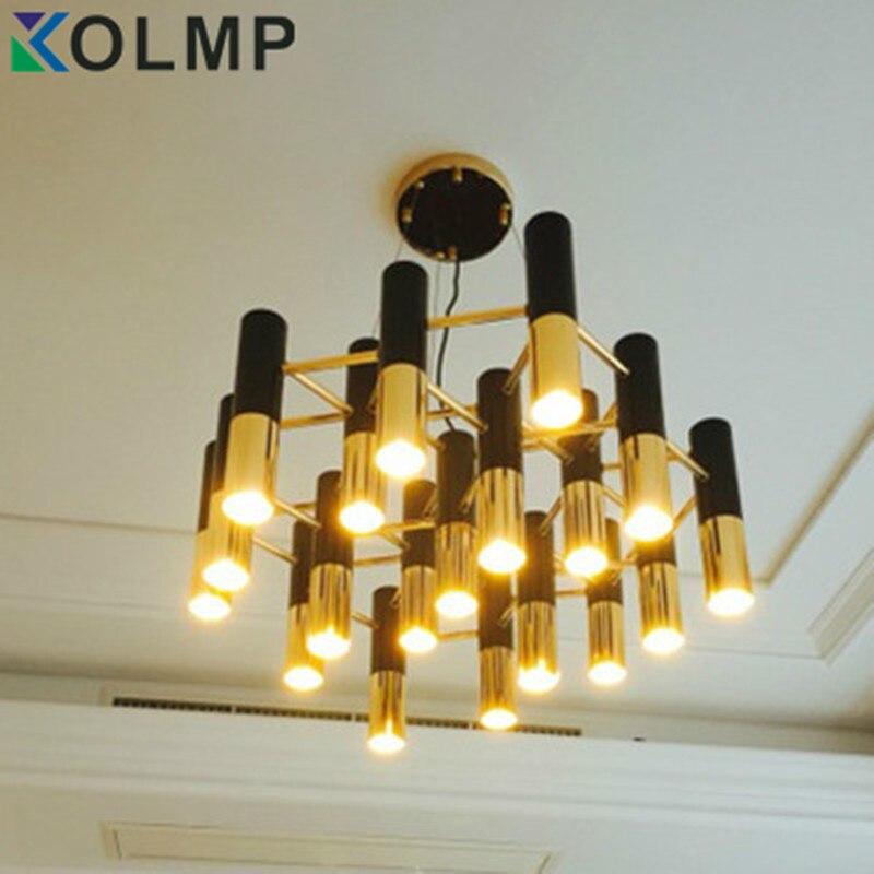 Delightfull Ike noir et or métal en aluminium tube lustre lampe Italie design moderne suspension lumière pour manger restaurant