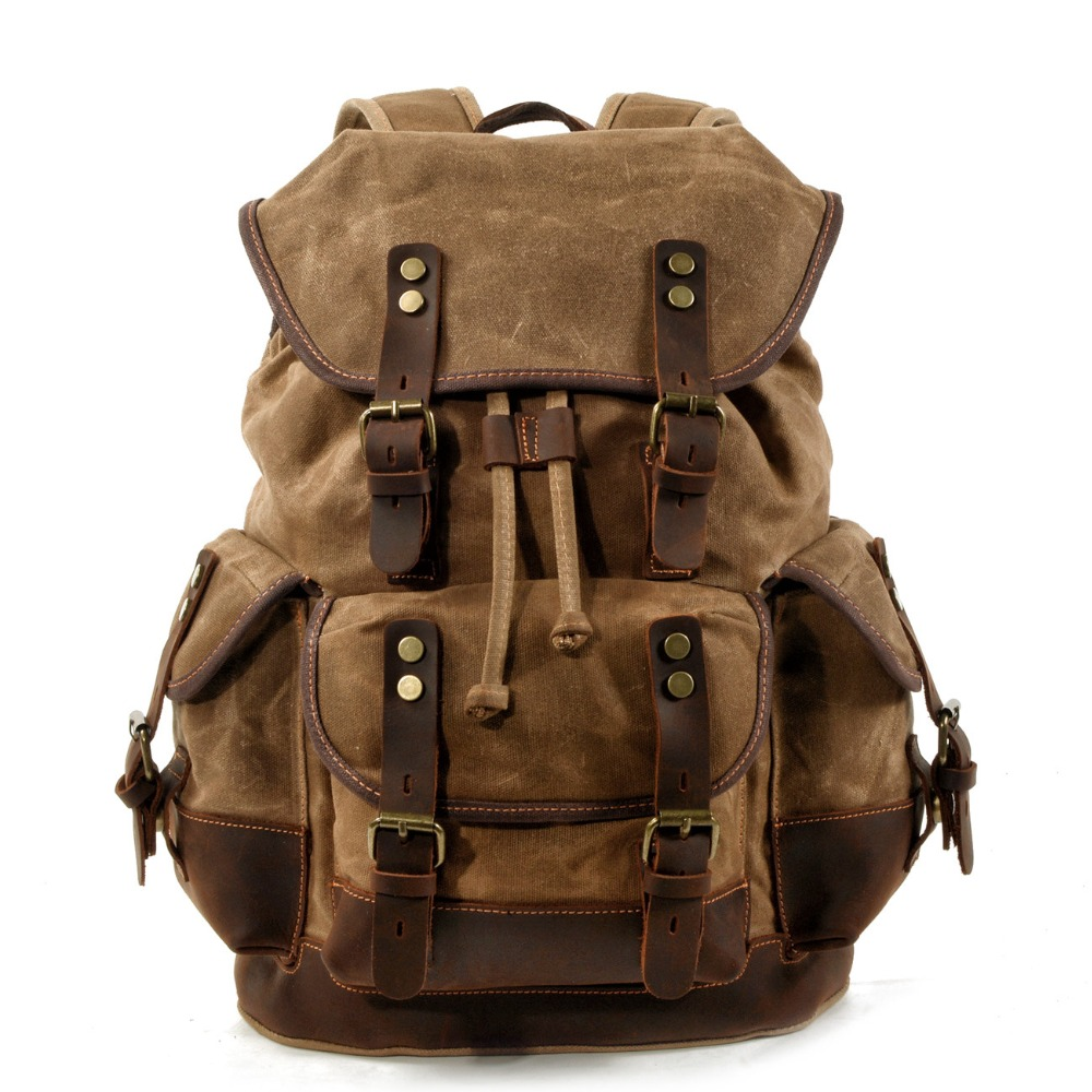 YUPINXUAN Large Capacity Canvas Leather Backpacks Vintage String Daypacks Retro Waterproof Traveling Rucksacks Teenagers Mochila
