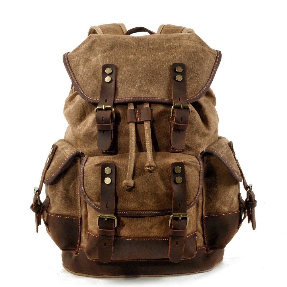 YUPINXUAN كبيرة قدرة قماش حقيبة ظهر مصنوعة من الجلد خمر سلسلة Daypacks الرجعية للماء السفر الظهر المراهقين Mochila-في حقائب الظهر من حقائب وأمتعة على  مجموعة 1