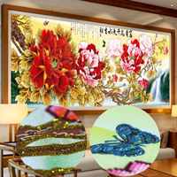 Platinum Flower Blooming Waterfall Living Room Large Sticker Drilling Cross Stitch Plant Diamond Painting Embroidery Mosaic