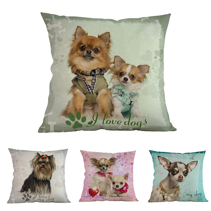 Hogar Oficina Cachorro Lindo Almohada Patrón Chihuahua Yorkshire Perro Funda Terrier Amor Animal CdxBeWro