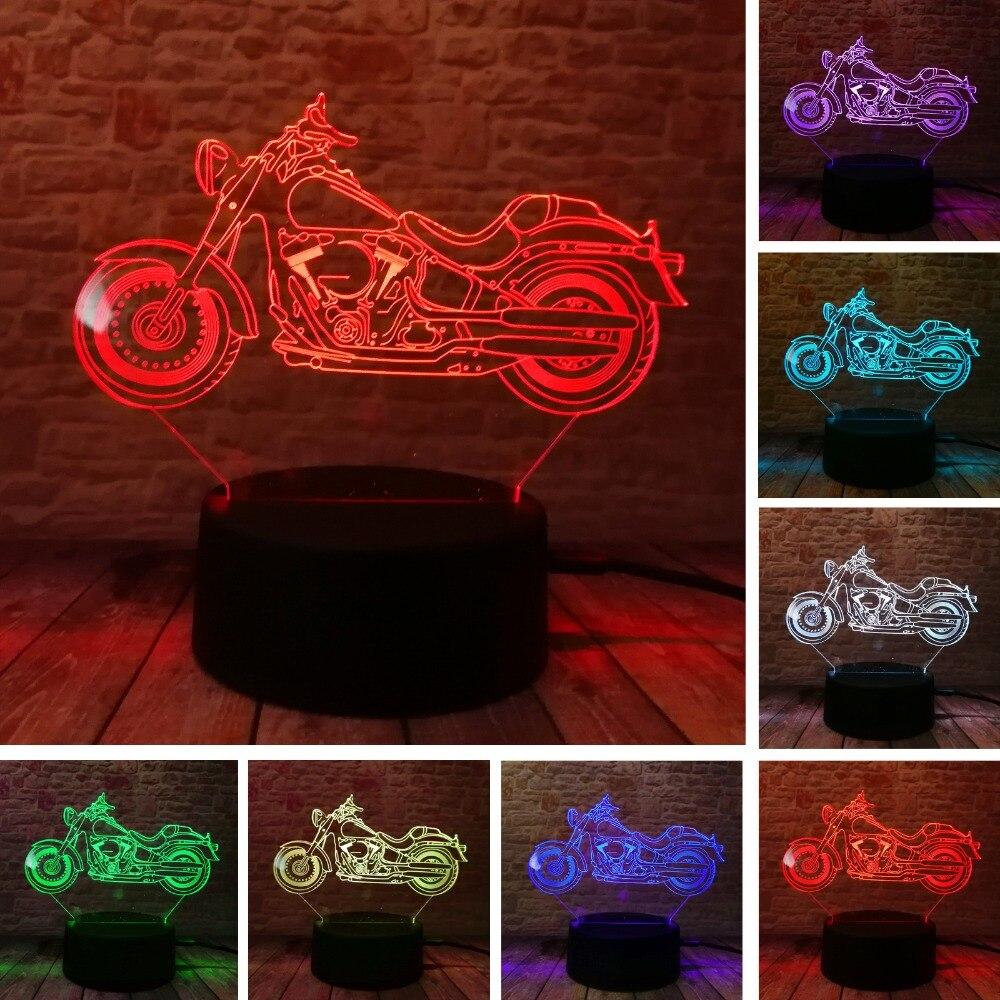 3D Moto Nuit Lumière Acrylique RGB Illusion visuelle Bureau Lampe 7 Changement de Couleur Atmosphère Éclairage pour Maison de Vacances lamparas