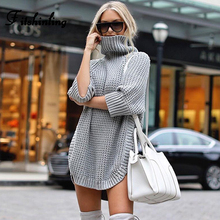 Fitshinling 2019 Autumn Winter Turtlenecks Sweater Woman 3/4 Sleeve Solid Pullover Knitted Jumper Pull Sweaters New