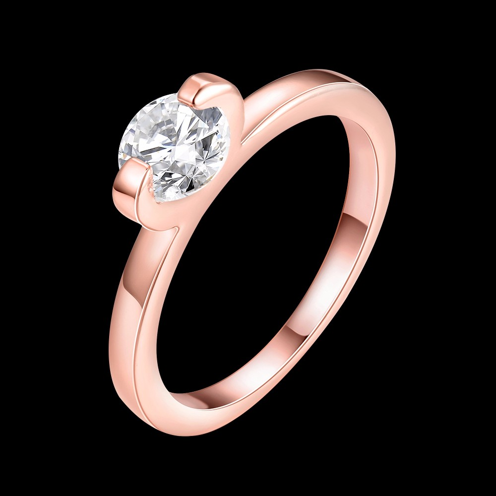Hot Sell Women Rings Rose Gold Color with Single Crystal Zircon Ring Full Size Bride Wedding Jewelry