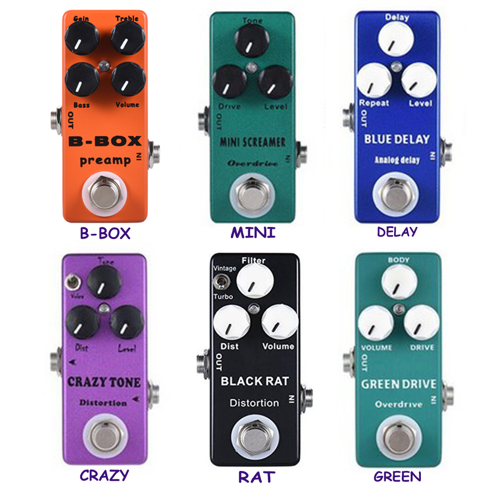 Mosky Mini Effect Pedal B-BOX Precmp,Mini Screamer,Delay,Crazy Tone, Distortion ,Drive Pedals, Power Supply Guitar Accessory aroma adr 3 dumbler amp simulator guitar effect pedal mini single pedals with true bypass aluminium alloy guitar accessories