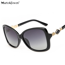 [Marte&Joven] Luxury Temple PC Frame Square Gradient Polarized Sunglasses For Women Anti-Glare Fashion Traveling Driving Glasses
