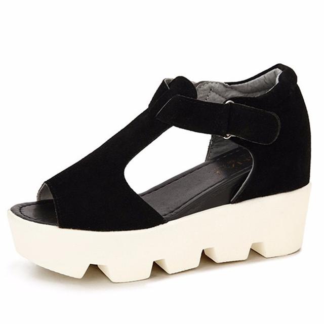 2016 Sandálias Sapatos de Plataforma Das Mulheres de Salto Alto Sapatos Casuais Sapatos de Plataforma Do Dedo Do Pé Aberto Gladiador Trifle Sandálias Sandálias Sapatos Das Senhoras Das Mulheres