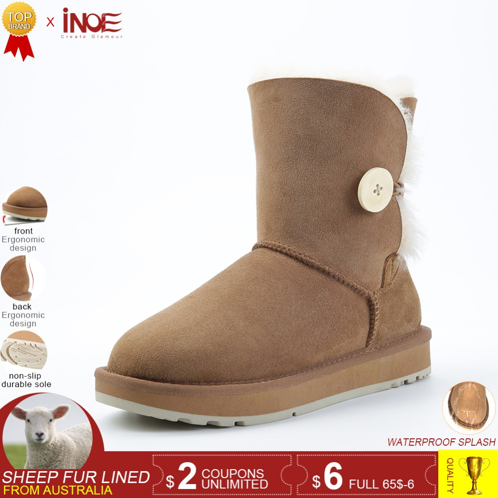 INOE Real Sheepskin Suede Leather Women Short Winter Snow Boots With Button Wool Fur Shearling Lined Winter Shoes Black Brown