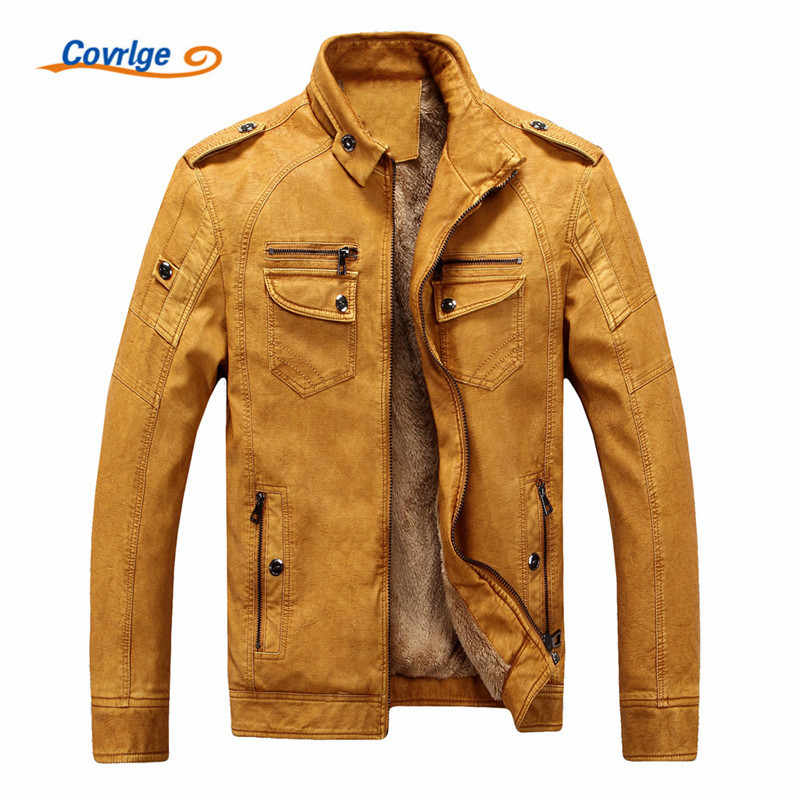 Covrlge Male Leather Jacket Fashion 2019 Mens Motorcycle Jacket Winter Men 39 s Coat Casual Overcoat Faux Leather Suede MWP003 in Faux Leather Coats from Men 39 s Clothing