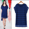 Plus Size Summer Dress 5xl striped Fashion Elegant Loose Fat Mm Long Section Fake Two Thin Black White Bodycon Dress Robe Femme