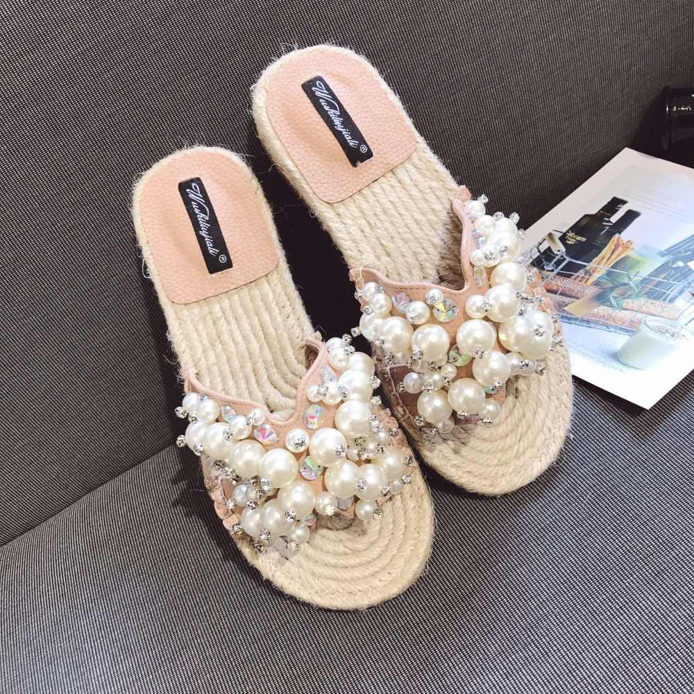 brand design luxury slippers women open toe pearl sandals summer flip flops ladies crystal beading beach slides