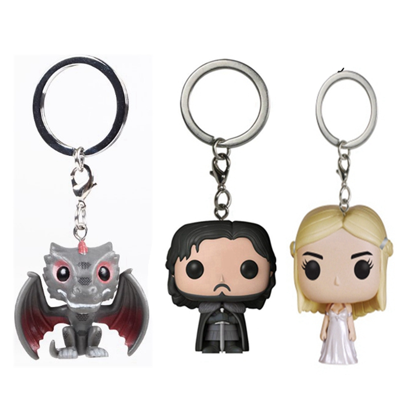 MIni Game of Thrones Daenerys Jon Snow POP Action Figure Toy With Keychain NO BOX game of thrones jon snow wigs black curly synthetic hair