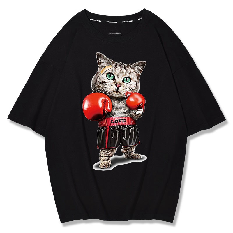 MFERLIER summer mens short sleeve cotton t-shirts print dog cat funny plus size big 4XL 5XL tees loose tShirt black Hip hop tops 3