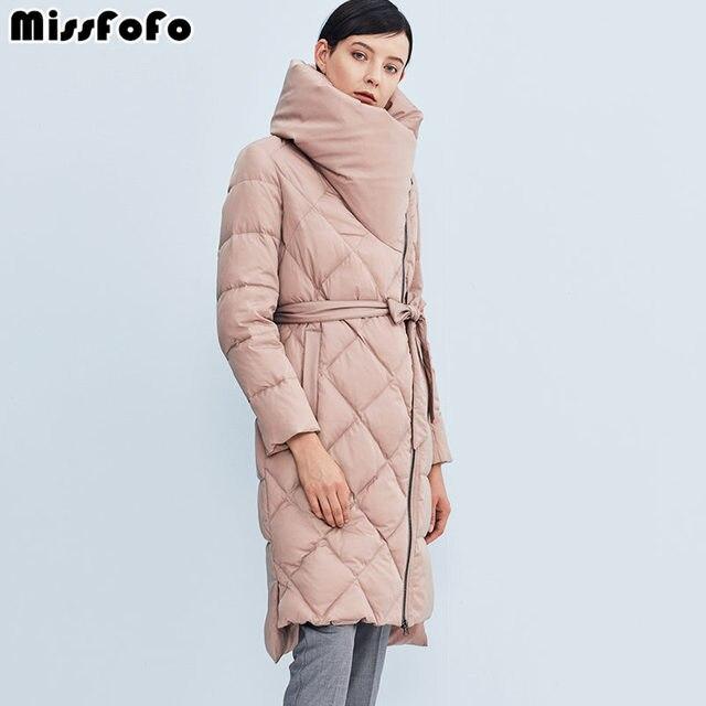 Missfofo Мода 2017 г. Подпушка куртка розовый плед Подпушка пальто тонкий длинный толстый Парка на пуху Пояса