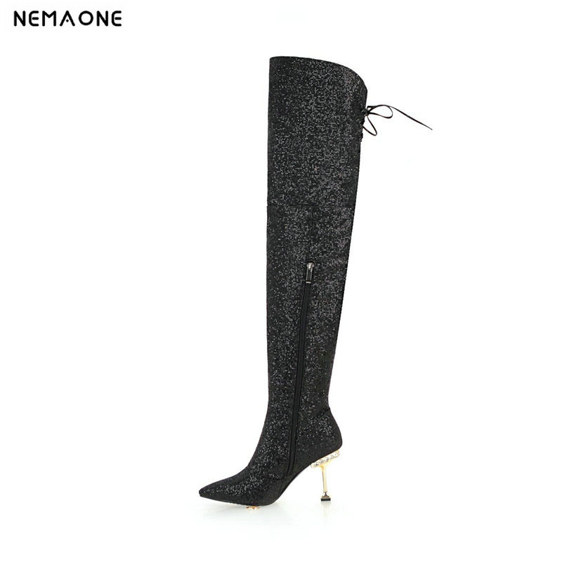 NEMAONE women over the knee high boots shiny bling high heels winter warm dancing shoes ladies party dress wedding boots woman цена