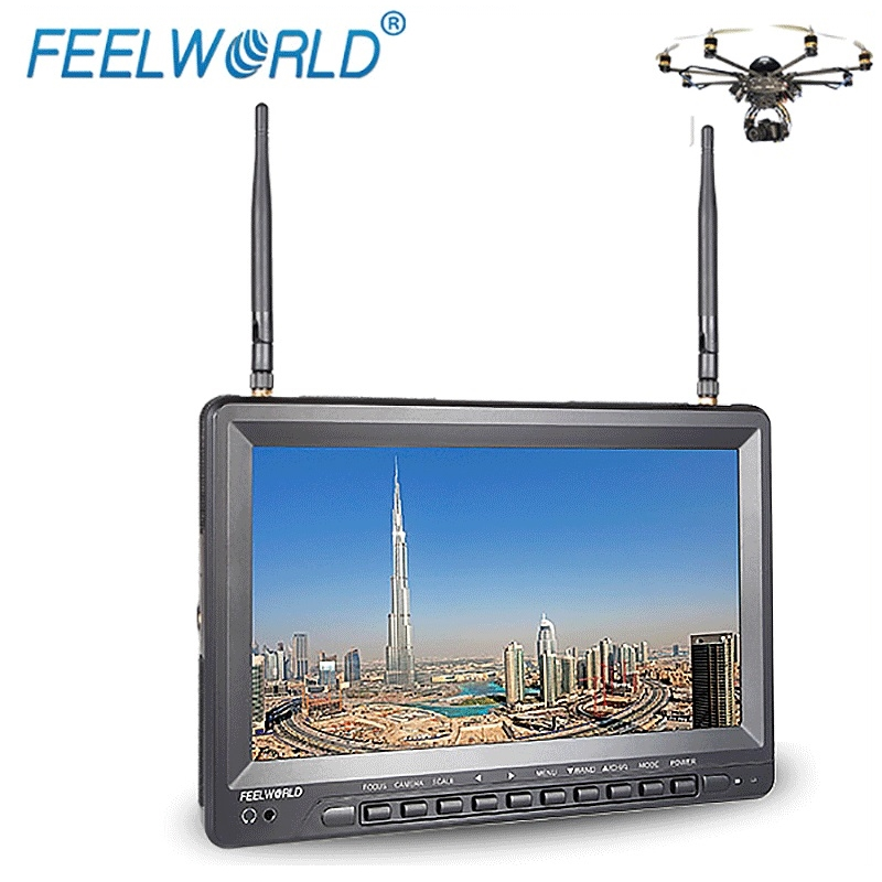 Feelworld 10.1 Inch IPS 1024x600 FPV Monitor for GoPro with Built-in Battery Dual 5.8G 32CH Diversity Receiver FPV1032