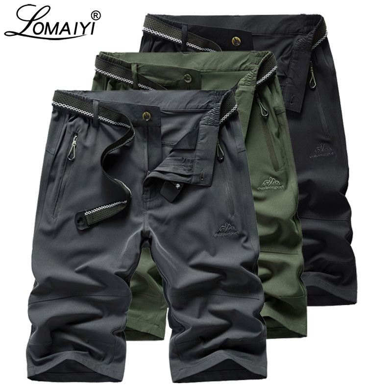 LOMAIYI Men's Casual   Shorts   Men Summer Stretch Quick Dry   Shorts   Mens Travel   Short   Man Army Green/Black   Shorts   With Zipper AM380