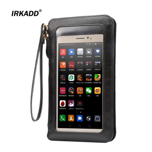 """IRKADD 6.3"""" Crazy Horse Wallet Universal Bag for iPhone 6s Plus Lanyard Holster Touch Screen Case for Samsung Galaxy Note4 Note5"""