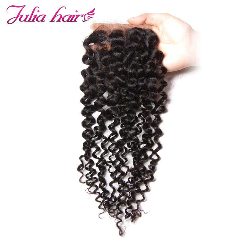 Ali Julia Malaysian Curly Lace Closure Free Middle Three Part 120 Density Natural Color Remy Human