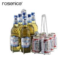 6 Bottles Metal Table Standing Rack Hand Basket Beer Container Tabletop Wine Holder Bottle Server for Restaurant KTV Bar(China)