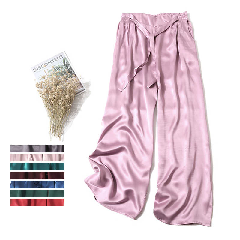 Lady 100% pure silk pants Multicolored weighty silk satin broad-legged trousers with loose tie pants Pure silk casual pocket