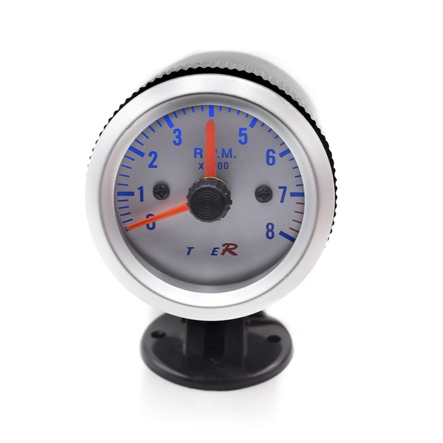 free shipping Tachometer 52mm White Auto Gauge 0-8000 Tachometer RPM Meter/Speedometer Gauges with Blue LED/car meter/Tacometro